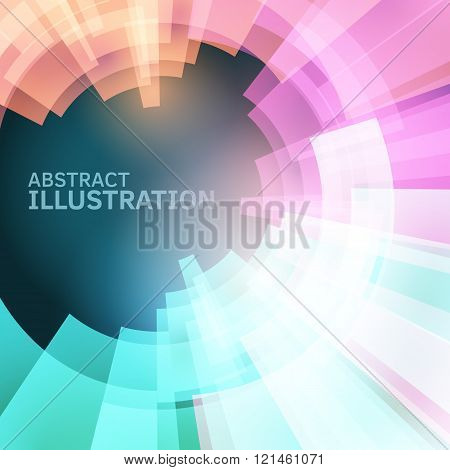 Techno vector backdrop. Abstract future background. Decoration with electric light. Future presentation concept. Vibrant illustration. Presentation template with sample text. Circle graphic element.