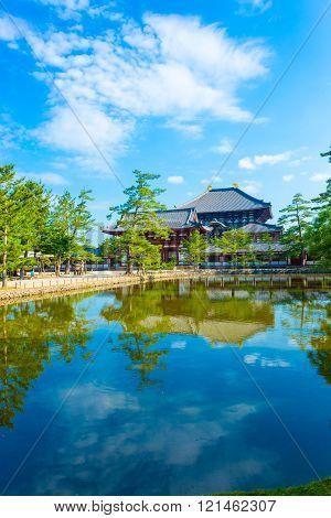 Daibutsuden Ro-Mon Entry Gate Lake Reflection V