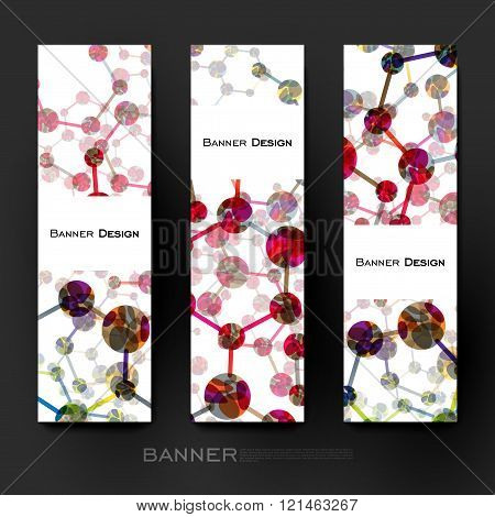 Beautiful banner vector template with DNA molecule background