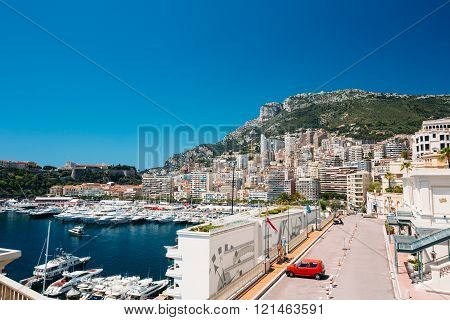Monte Carlo, Monaco - June 28, 2015: City Pier, Jetty In Sunny Summer Day. Monaco, Monte Carlo architecture.