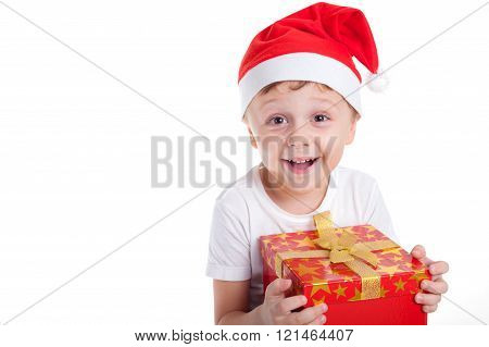 Happy Little Smiling Boy With Christmas Gift Box.