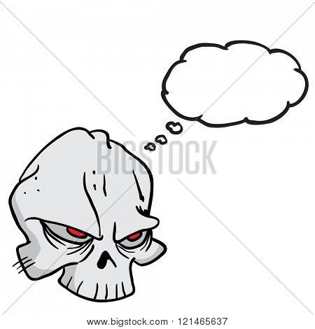 skull with thought bubble cartoon