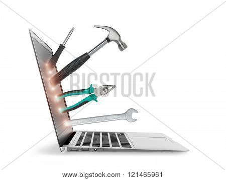 Open laptop with tools isolated on white background. Symbol of repair, upgrade and improvement