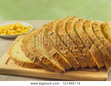 Bread Made From Corn. Whole Grains Are In A Bowl