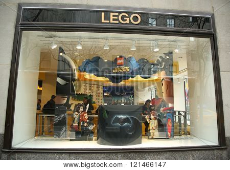 ego Store window display in Rockefeller Center in Midtown Manhattan