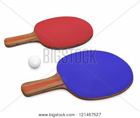 Two Ping-pong Rackets And Ball For Playing Table Tennis.