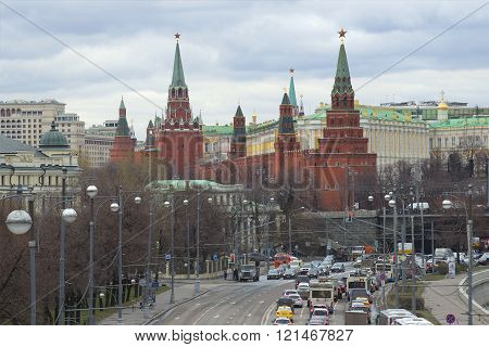MOSCOW, RUSSIA - APRIL 14, 2015: View of the towers of the Moscow Kremlin cloudy day in april. The main attraction of the city of Moscow