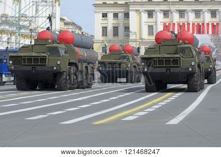 Column rocket launchers S-300PM on parade rehearsal in honor of the Victory Day. St. Petersburg