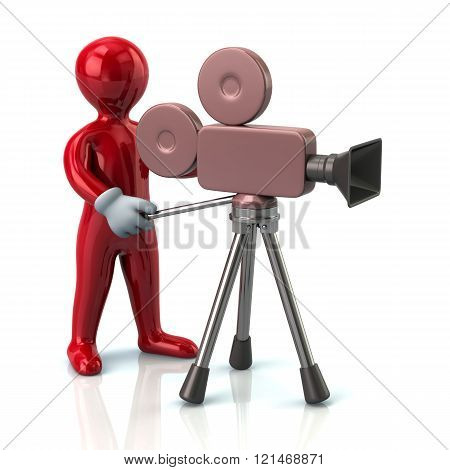 Illustration of red video camera operator