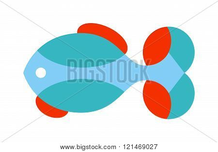 Decorative Fish flat icon vector isolated on white background.