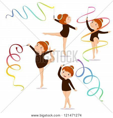 Little Girl Gymnast Practicing With.a Ribbon On White Background Set
