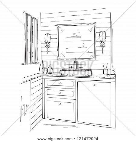 Bathroom interior elements sketch.