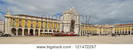 Praca do Comercio Lisbon Portugal with Trams and People