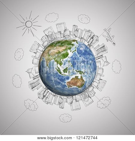 Planet earth with pencil sketch megalopolis and plane on grey background. Travel, world concept. Ele