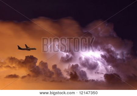 a airplane and a storm