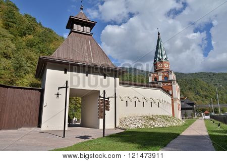 CULTURAL - ETHNOGRAPHIC CENTER MY RUSSIA ROSE FARM SOCHI, RUSSIA - OCTOBER 05 2015: View of the building symbolizes the Kazan Krasnaya Polyana Sochi Russia.