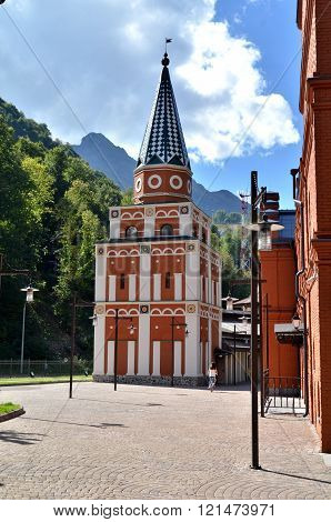 CULTURAL - ETHNOGRAPHIC CENTER MY RUSSIA ROSE FARM SOCHI, RUSSIA - OCTOBER 05 2015: View of the building symbolizes the Ural Krasnaya Polyana Sochi Russia.