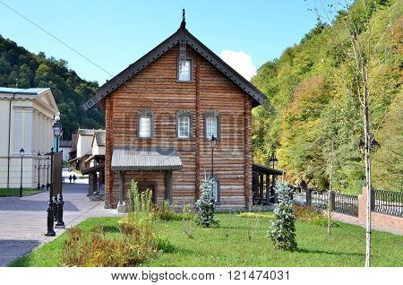 CULTURAL - ETHNOGRAPHIC CENTER MY RUSSIA ROSE FARM SOCHI, RUSSIA - OCTOBER 05 2015: View of the building symbolizes the Russian north Krasnaya Polyana Sochi Russia.