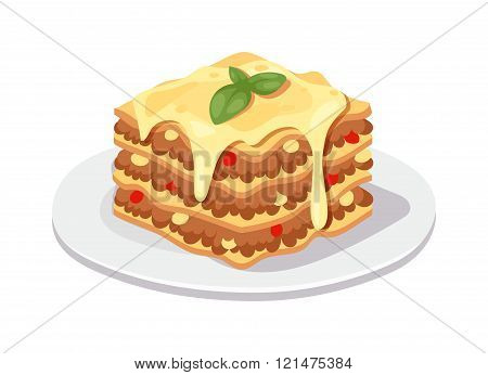 Delicious chocolate dessert cake vector illustration.