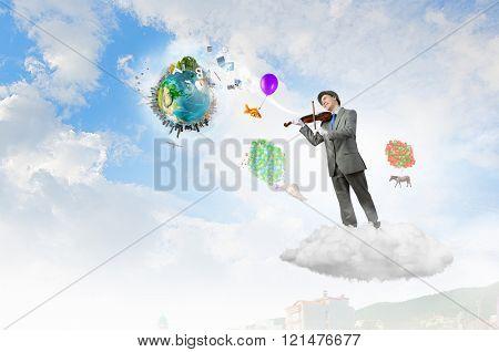 Humorous violin performer