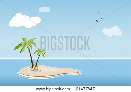Desert Island With Palm Trees In Sea