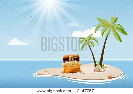 Desert Island With Palm Trees And Treasure Chest