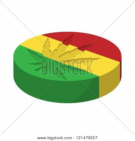 Marijuana leaf with rastafarian colors icon