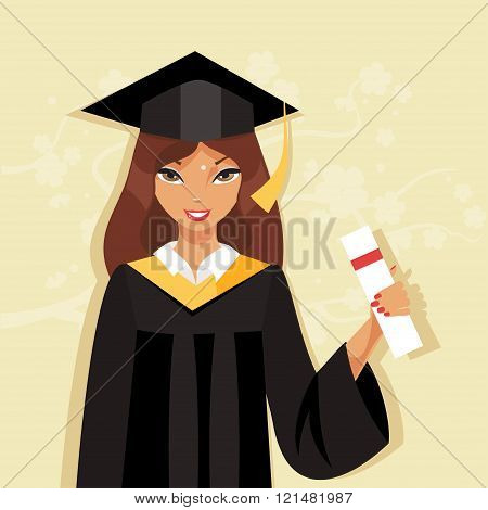 Girl Graduate. Vector Illustration