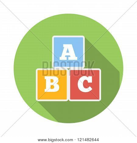 Cubes with letters A,B,C icon, flat style