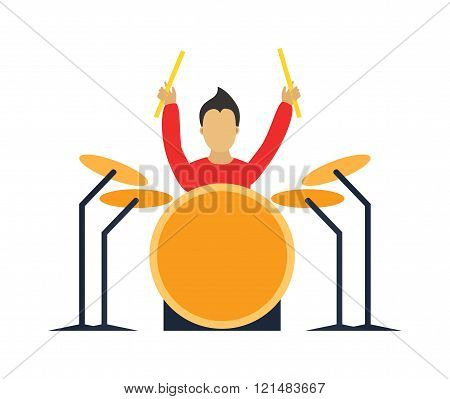 Musician drummer cartoon characters with guitar isolated on white background.