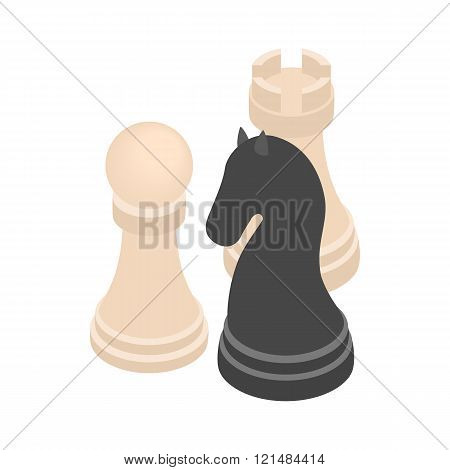 Chess figures icon, isometric 3d style
