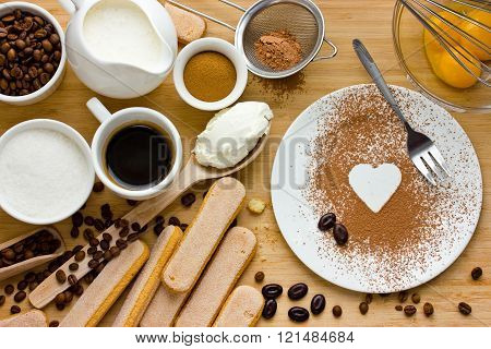 I Love Tiramisu. Ingredients For Making Perfect Italian Dessert