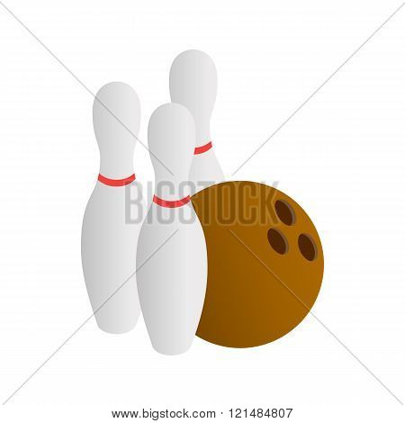 Bowling icon, isometric 3d style