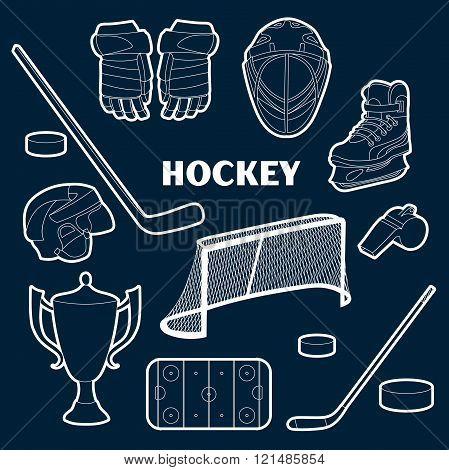 hockey icons set
