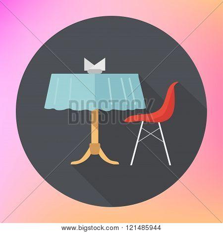 table chair napkins vector flat
