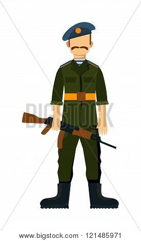 Russia troop armed forces man with weapon illustration