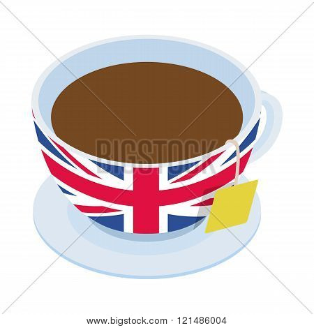 British tea  cup icon, isometric 3d style