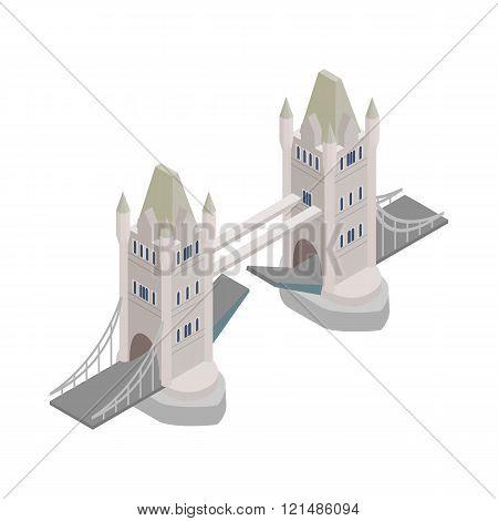 Tower Bridge in London icon, isometric 3d style
