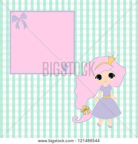 Sweet Little Princess  Announcement  Baby Shower, Fairytale Cartoon Illustration Carriage Princess,