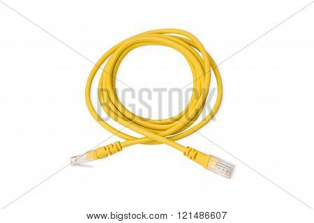Close up yellow UTP LAN cable on white background