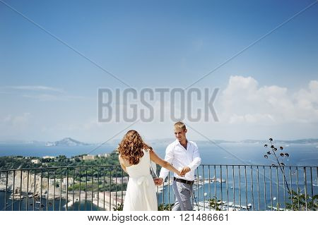 Bride And Groom Dancing In Wedding Day In Naples, Italy