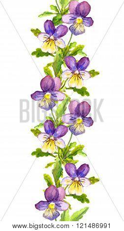 Seamless floral stripe border with botanical painted violet viola flowers
