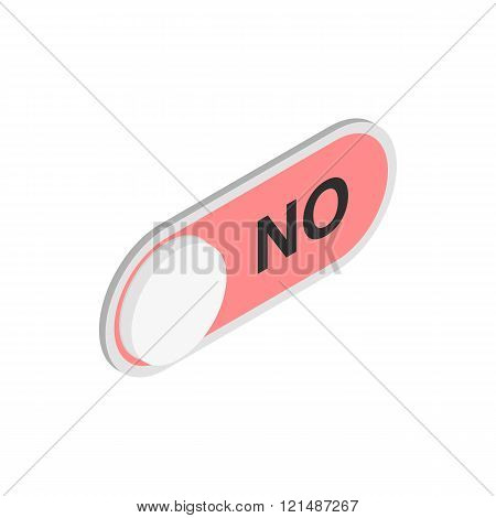 Red long round button NO icon, isometric 3d style