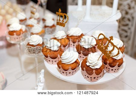 Muffins Cakes Delicacies On A Holiday Table