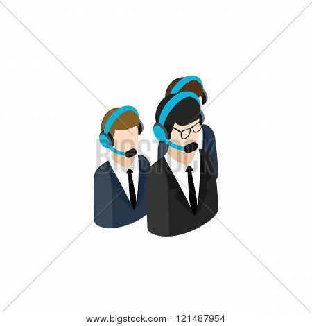 Call center operators group with headsets icon