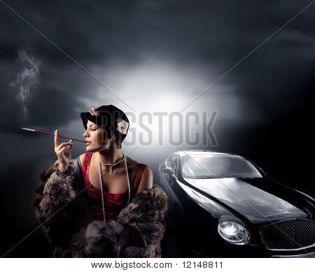 portrait of a woman with fur and a luxury car