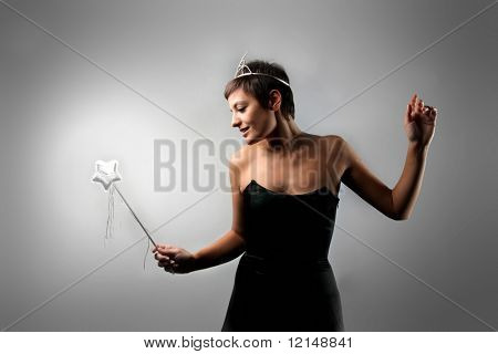 woman with a magic wand