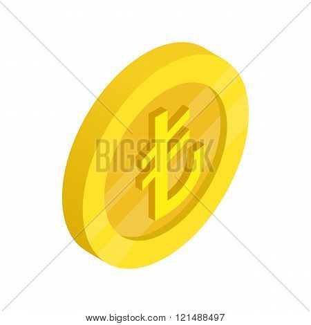 Gold coin with lira sign icon, isometric 3d style