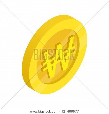 Gold coin with won sign icon, isometric 3d style