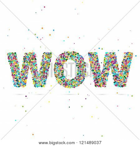 wow word consisting of colored particles